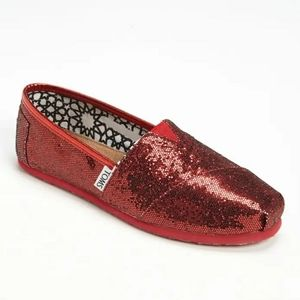 Women Toms Red Glitter Shoes on Poshmark